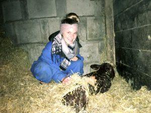 Julia bei der Geburt eines kleinen Kälbchens am Mauracherhof