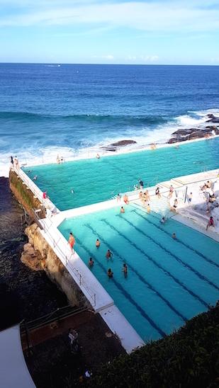 Blick auf den Swimmingpool vom Icebergs am Bondi Beach