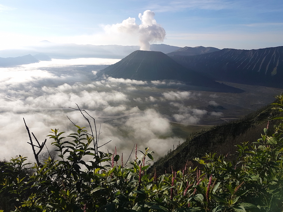 Wolkenmeer und Rauchwolke beim Vulkan Bromo