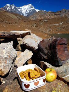 Selbstgemachte Leinsamen Cracker und ein Kärntner Apfel als Proviant am AC Trek