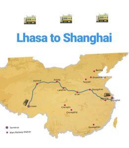 Zugstrecke durch China von Lhasa nach Shanghai