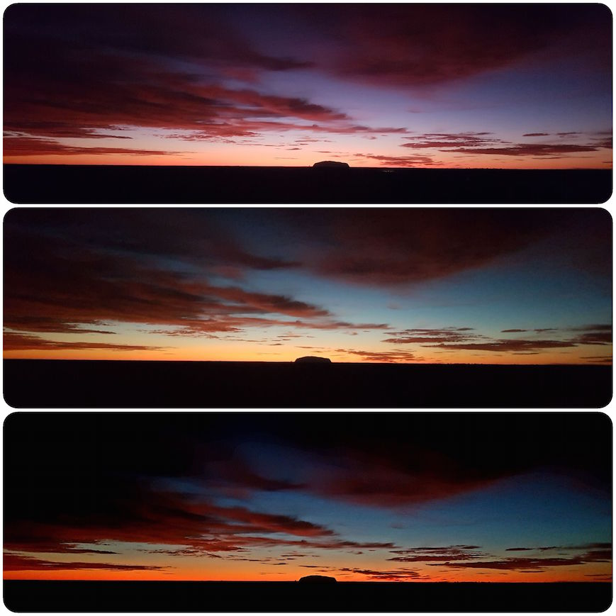 Dreierlei Sonnenaufgang am Uluru
