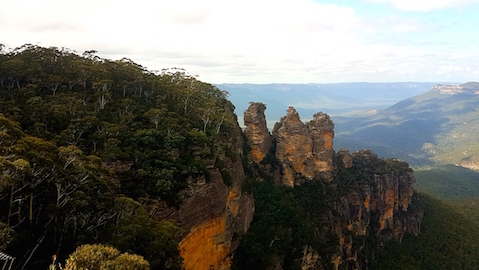 Blick auf die Three Sisters in den Blue Mountains